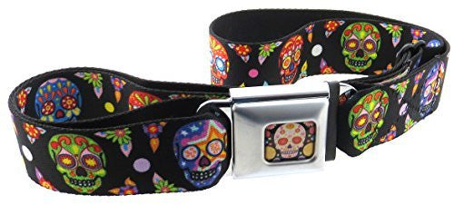 Sugar Skulls Thaneeya Seatbelt Belt Black Calaveras