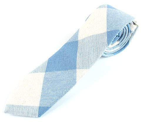 Men's Woven Linen Skinny Checker Diamond Pattern Necktie Tie - 2 1/2