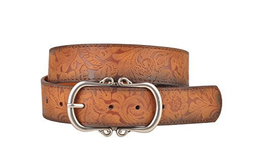 Tan Leather Belt with Floral Embossment and Silver Belt Buckle
