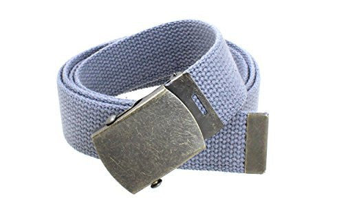 Canvas Web Belt Military Style with Antique Brass Buckle and Tip 50 Long