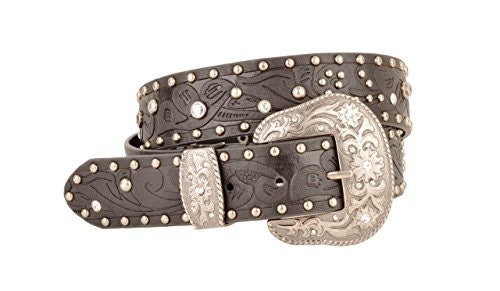 Womens Western Embossed Black Leather Belt Stone and Stud Detail Oversize Buckle