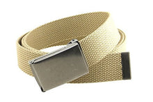 "Canvas Web Belt Flip-Top Antique Silver Buckle/Tip Solid Color 50"" Long"