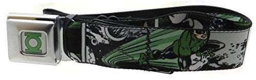 Green Lantern White/Green Seatbelt Belt Comic Strip