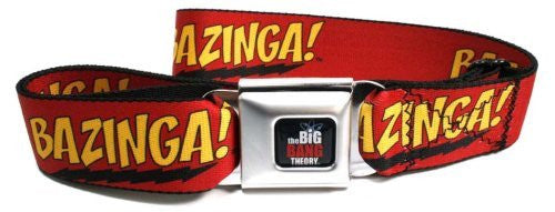 BAZINGA! Big Bang Theory Red/Gold/Black Seatbelt Belt