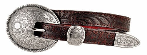 Womens Skinny Brown Western Leather Belt with Large Oval Buckle