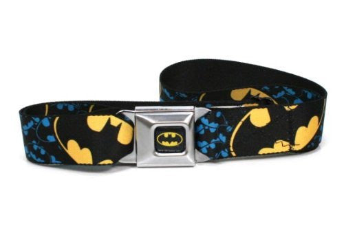 Batman Full Color Black/Yellow Seatbelt - Bat Signal Stacked w/Close-Up Blue/Black/Yellow Webbing