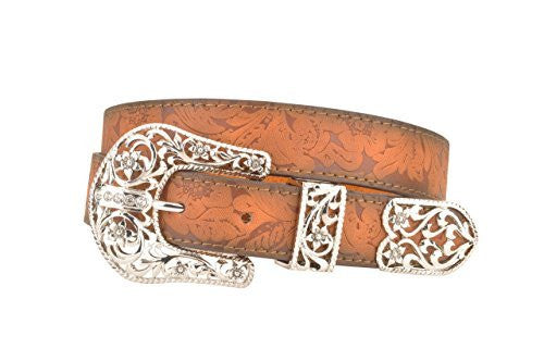Womens Brown Western Floral Leather Belt with Three Piece Filigree Buckle