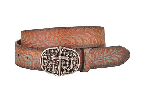 Womens Tan and Teal Leather Belt with Metal Oval Crosses Buckle