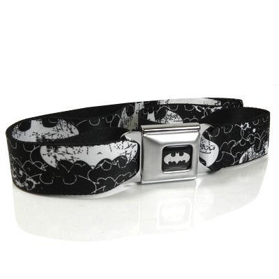 Batman White Logo Seatbelt Buckle Black Strap Belt, Official Licensed