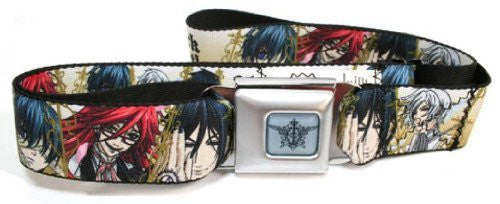 Black Butler Seatbelt Belt - Black Butler Gold w/ Main Characters