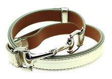 "Womens Thin Skinny Metal Tone Leather Belt Horsebit Buckle - Adjustable Size 27"" to 45"""