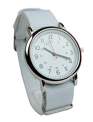 Men's Military Style Wrist Watch White Face White Nylon Strap Band