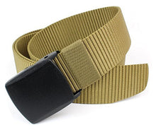 "Miliary Style Canvas Nylon Web Belt Black Plastic Clamp Buckle 48"" Long - Outdoor Tactical Equipment"