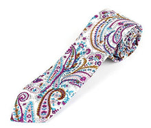 "Men's Cotton Skinny Necktie Tie Bright Colorful Paisley Pattern - 2 1/2"" Width"