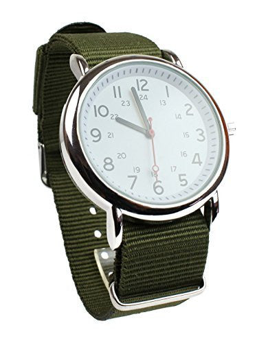 Men's Military Style Wrist Watch White Face Olive Nylon Strap Band