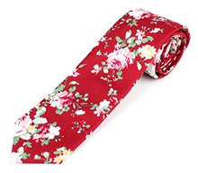 "Men's Cotton Skinny Necktie Tie Bright Colorful Flower and Leaf Pattern - 2 1/2"" Width"