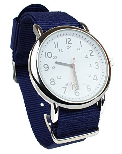 Men's Military Style Wrist Watch White Face Navy Nylon Strap Band