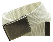 "Canvas Web Belt Flip-Top Antique Brass Buckle/Tip Solid Color 50"" Long 1.5"" Wide"