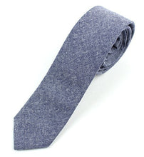 "Men's Chambray Cotton Skinny Necktie Tie - 2 1/2"" Width Textured Distressed Style"