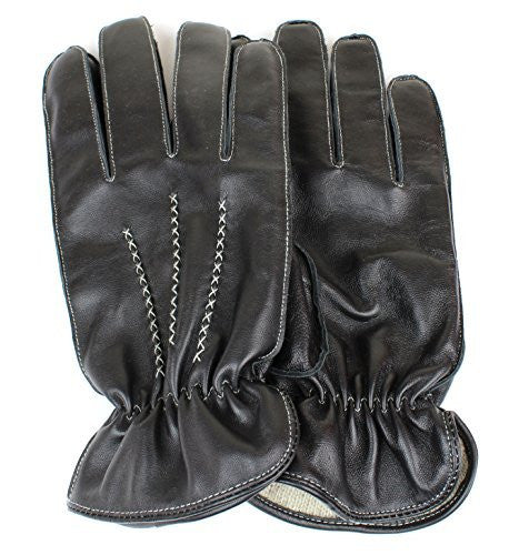 Men's Black Genuine Sheepskin Leather Winter Driving Gloves White Stitching Wool Lining - Full Touchscreen Texting Ability