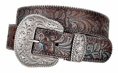 Western Scroll Buckle with Turquoise Tinted Embossed Brown Leather Belt