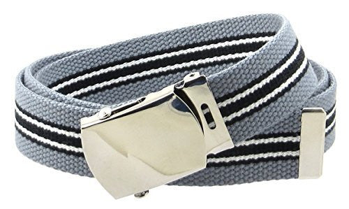 Canvas Web Belt Nickel Buckle/Tip Colorful Striped Patterns 50
