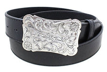 Women's Ornate Engraved Metal Big Western Belt Buckle Aged Finish Genuine Leather Belt