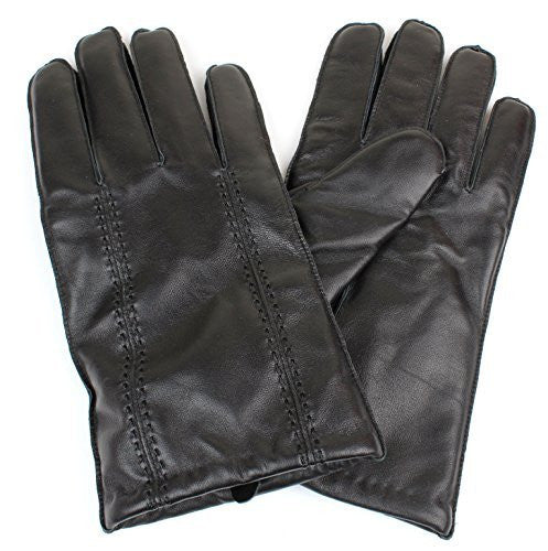 Men's Black Genuine Leather Winter Gloves Wool Lining Double Stitch Accent - Full Touchscreen Texting Ability