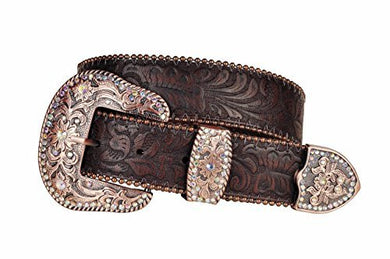 Womens Brown Western Embossed Leather Belt Bronze Color Buckle with Rhinestones