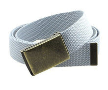 "Canvas Web Belt Flip-Top Antique Brass Buckle/Tip Solid Color 50"" Long"