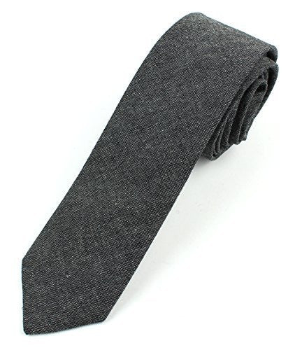 Men's Chambray Cotton Skinny Necktie Tie - 2 1/2