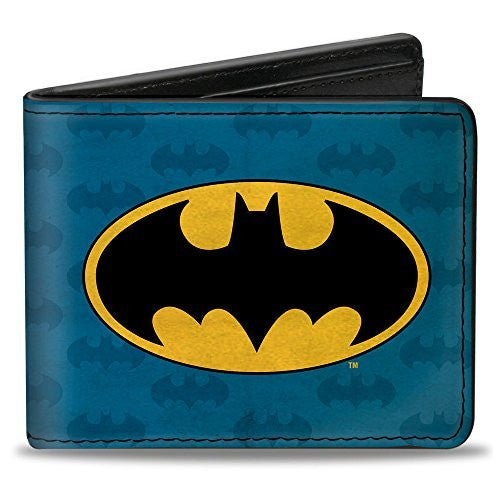 Bi-Fold Wallet - Batman Signal/Bat Monogram Distressed Blues/Black/Yellow