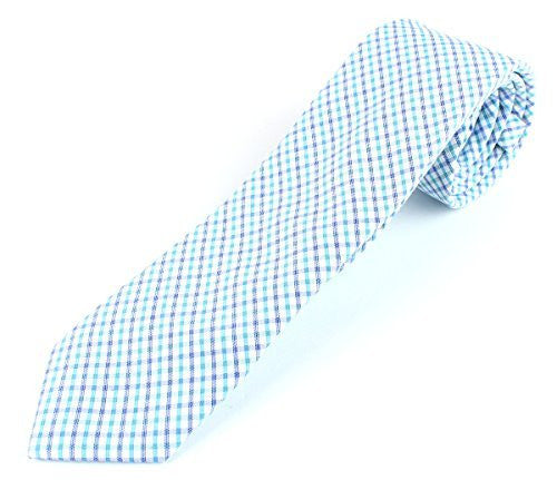 Men's Cotton Skinny Necktie Color Cross Stipe Pattern - 2 1/2