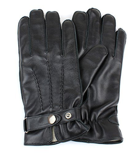 Men's Black Genuine Leather Winter Driving Gloves Wool Lining Adjustable Wrist Strap - Full Touchscreen Texting Ability