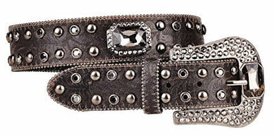 Womens Western Weathered Black Leather Belt Large Stones and Studs Oversized Buckle