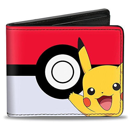 Bi-Fold Wallet - Pikachu Poses/Poké Ball CLOSE-UP Red/White/Black
