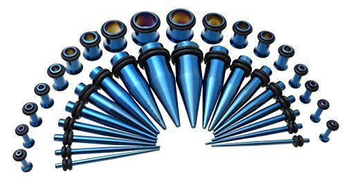 Blue-tone Steel Ear Taper and Tunnel Starter Kit - 36 Piece Set 14G to 00G Gauge