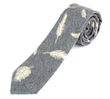 "Men's Cotton Skinny Necktie Tie Colorful Light Feather Pattern - 2 1/2"" Width"