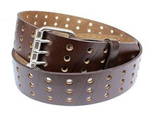 "Men's Genuine Leather Belt Strap Straight-Cut Edge Oil Tanned 1.75"" Wide - Triple Perforated Hole Pattern"
