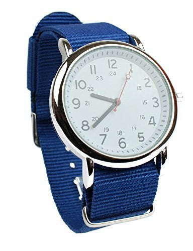 Men's Military Style Wrist Watch White Face Blue Nylon Strap Band