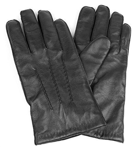 Men's Genuine Leather Winter Gloves Wool Lining Straight Wrist Design - Full Touchscreen Texting Ability