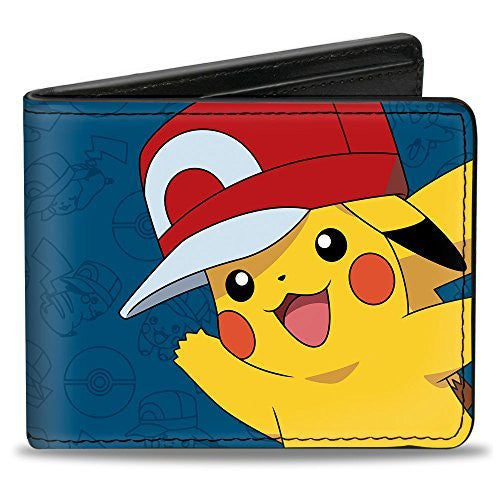 Bi-Fold Wallet - Pikachu Waving Kalos Hat Pose/Pikachu/Poké Ball Outlines Blues