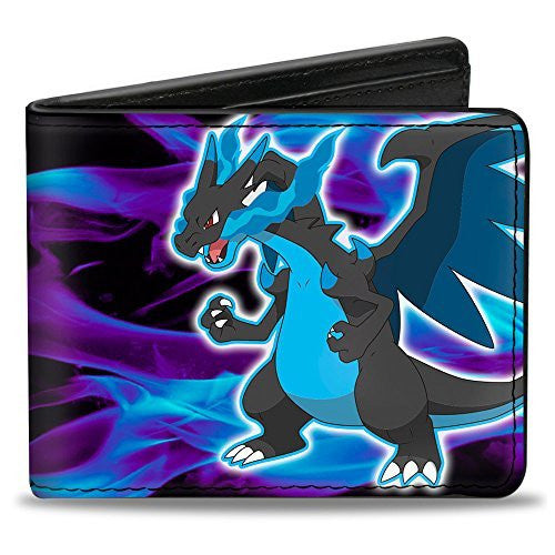 Bi-Fold Wallet - MEGA CHARIZARD X Pose/Flames Black/Blues