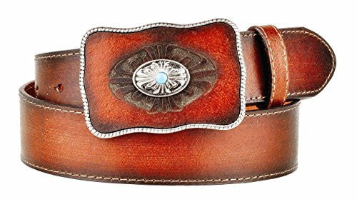 Tan Weathered Western Leather Belt with Leather Covered Buckle