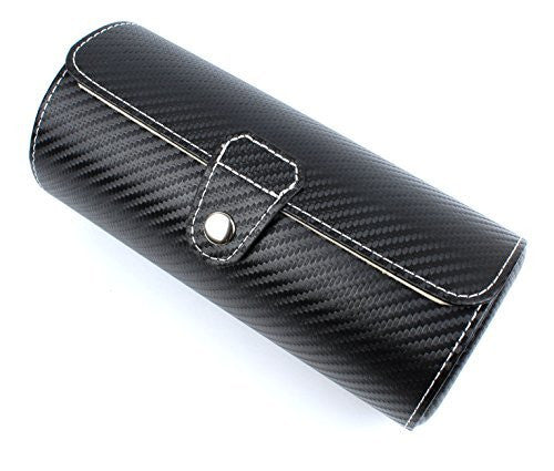 Leather Watch Travel Case Roll For 3 Watches -Faux Carbon Fiber Pattern