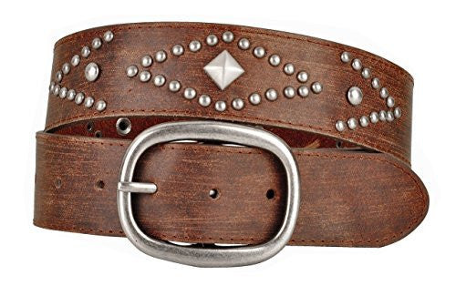Womens Brown Leather Belt with Round and Pyramid Metal Studs Oval Buckle