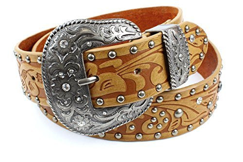 Womens Western Embossed Tan Leather Belt Stone and Stud Detail Oversize Buckle