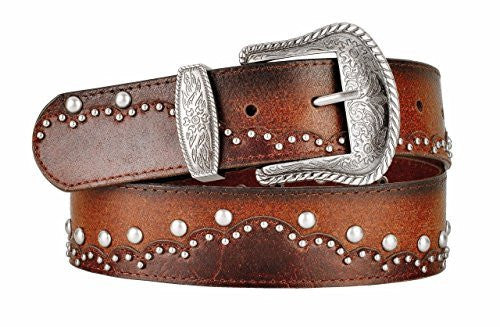 Womens Dual Layer Brown Leather Belt Round Metal Stud Pattern Large Western Buckle