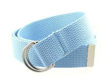 "Canvas Web Belt D-Ring Buckle 1.25"" Wide with Metal Tip Solid Color"