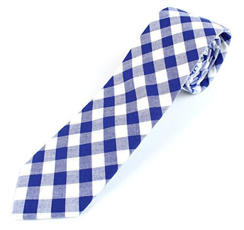 Men's Cotton Skinny Necktie Checkered Gingham Pattern - 2 1/2